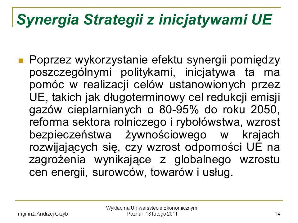 mgr inż. Andrzej Grzyb Wykład na Uniwersytecie Ekonomicznym, Poznań 18 lutego 2011 14 Synergia Strategii z inicjatywami UE Poprzez wykorzystanie efekt