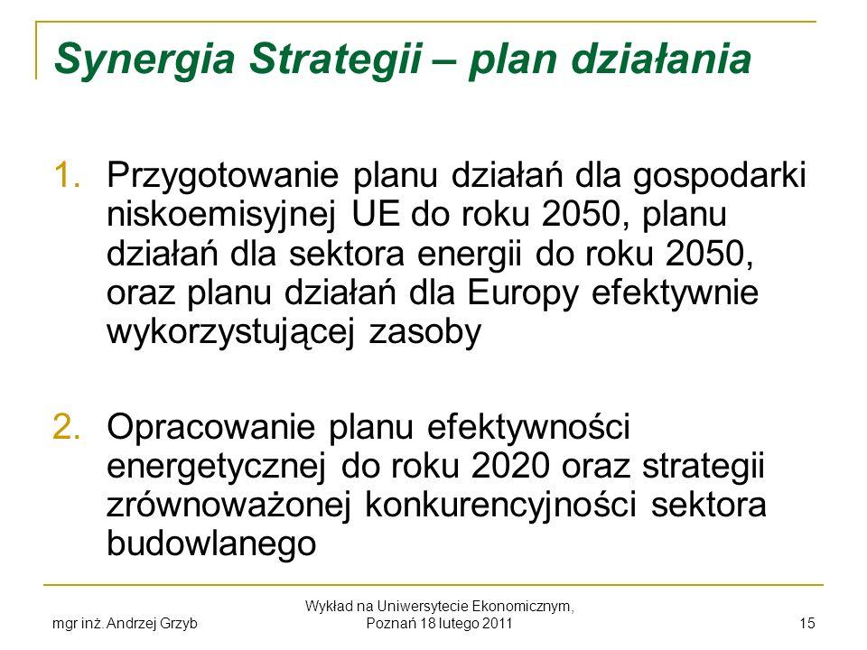 mgr inż. Andrzej Grzyb Wykład na Uniwersytecie Ekonomicznym, Poznań 18 lutego 2011 15 Synergia Strategii – plan działania 1. Przygotowanie planu dział
