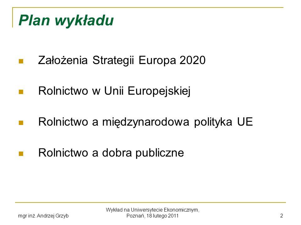 mgr inż. Andrzej Grzyb Wykład na Uniwersytecie Ekonomicznym, Poznań, 18 lutego 2011 2 Plan wykładu Założenia Strategii Europa 2020 Rolnictwo w Unii Eu
