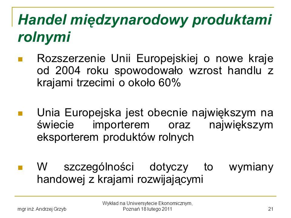 mgr inż. Andrzej Grzyb Wykład na Uniwersytecie Ekonomicznym, Poznań 18 lutego 2011 21 Handel międzynarodowy produktami rolnymi Rozszerzenie Unii Europ