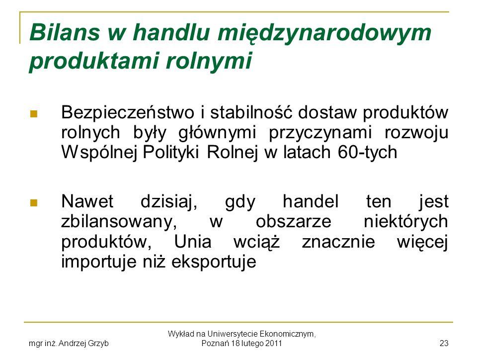 mgr inż. Andrzej Grzyb Wykład na Uniwersytecie Ekonomicznym, Poznań 18 lutego 2011 23 Bilans w handlu międzynarodowym produktami rolnymi Bezpieczeństw