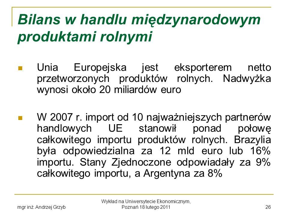 mgr inż. Andrzej Grzyb Wykład na Uniwersytecie Ekonomicznym, Poznań 18 lutego 2011 26 Bilans w handlu międzynarodowym produktami rolnymi Unia Europejs