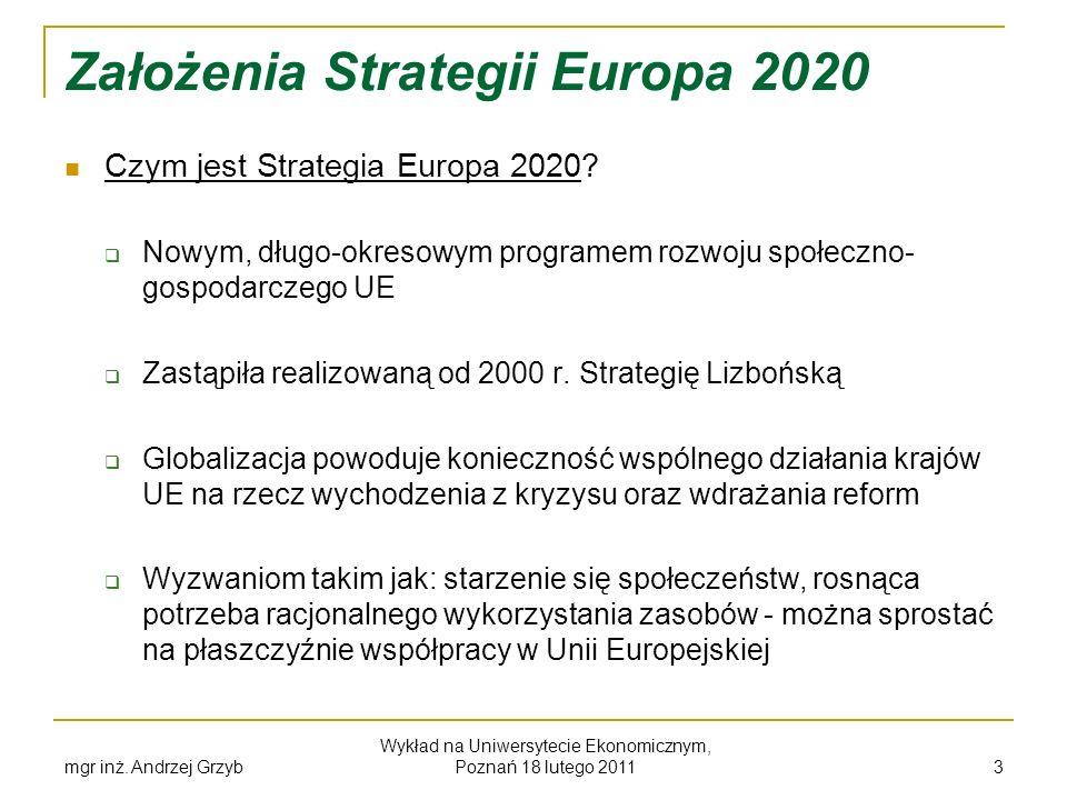mgr inż. Andrzej Grzyb Wykład na Uniwersytecie Ekonomicznym, Poznań 18 lutego 2011 3 Założenia Strategii Europa 2020 Czym jest Strategia Europa 2020?