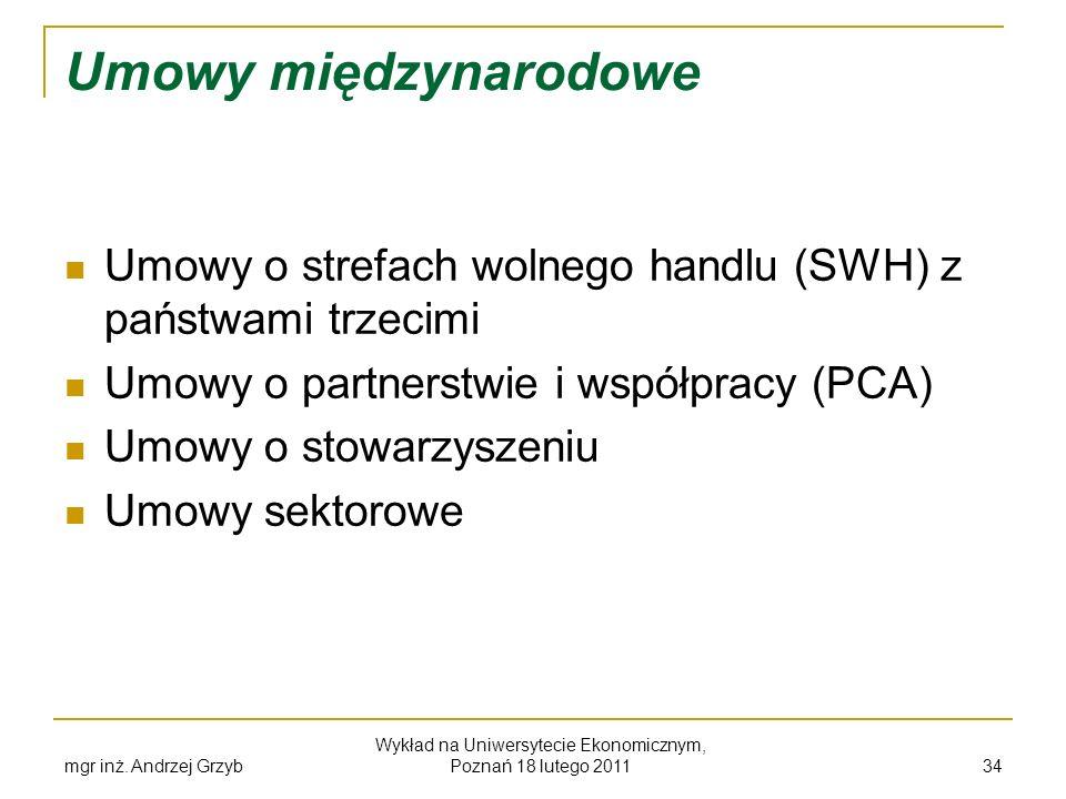 mgr inż. Andrzej Grzyb Wykład na Uniwersytecie Ekonomicznym, Poznań 18 lutego 2011 34 Umowy międzynarodowe Umowy o strefach wolnego handlu (SWH) z pań