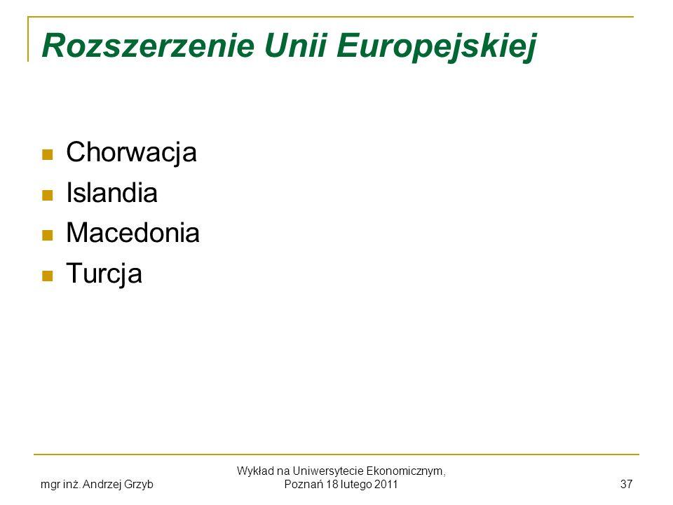 mgr inż. Andrzej Grzyb Wykład na Uniwersytecie Ekonomicznym, Poznań 18 lutego 2011 37 Rozszerzenie Unii Europejskiej Chorwacja Islandia Macedonia Turc