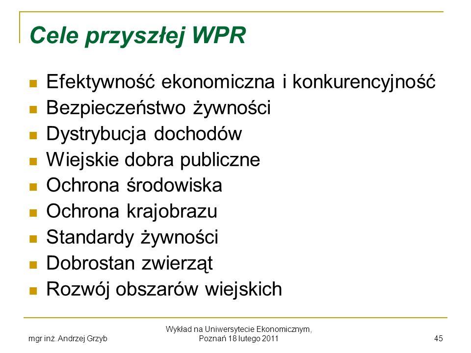 mgr inż. Andrzej Grzyb Wykład na Uniwersytecie Ekonomicznym, Poznań 18 lutego 2011 45 Cele przyszłej WPR Efektywność ekonomiczna i konkurencyjność Bez