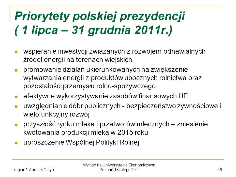 mgr inż. Andrzej Grzyb Wykład na Uniwersytecie Ekonomicznym, Poznań 18 lutego 2011 46 Priorytety polskiej prezydencji ( 1 lipca – 31 grudnia 2011r.) w