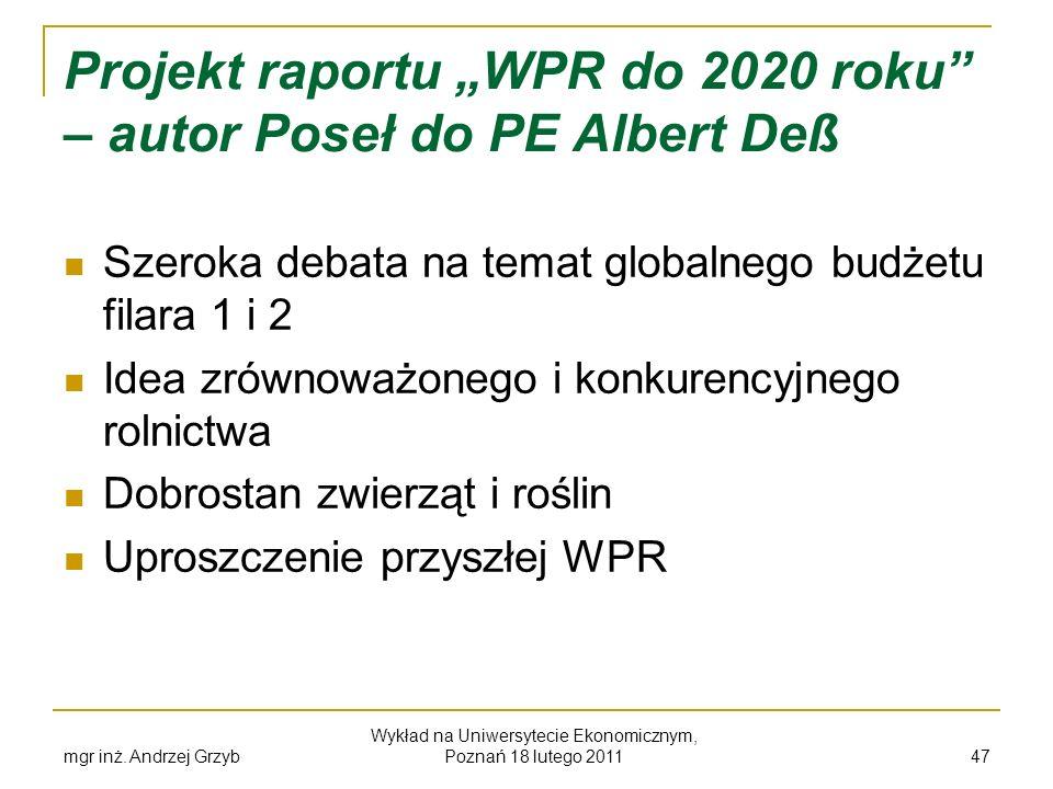 mgr inż. Andrzej Grzyb Wykład na Uniwersytecie Ekonomicznym, Poznań 18 lutego 2011 47 Projekt raportu WPR do 2020 roku – autor Poseł do PE Albert Deß