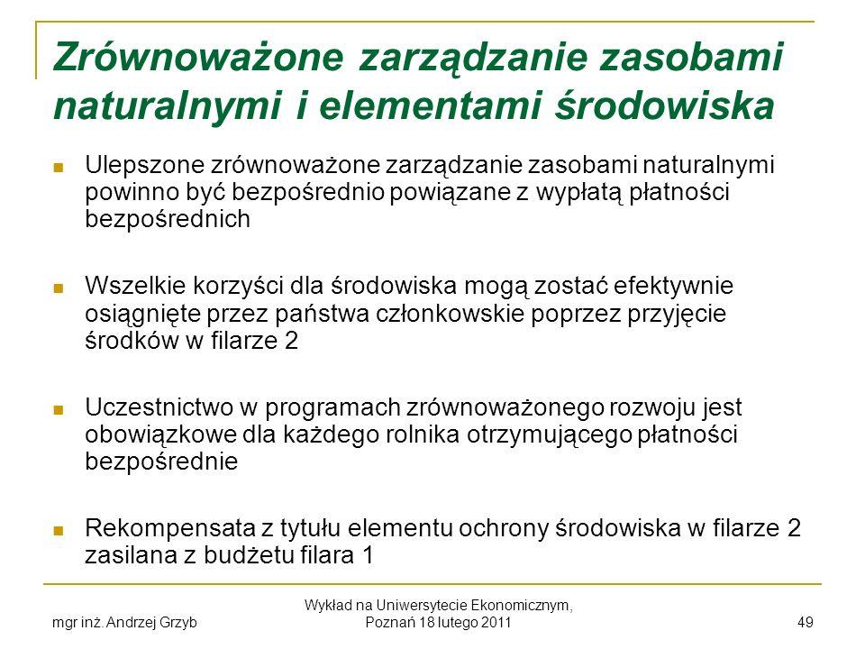 mgr inż. Andrzej Grzyb Wykład na Uniwersytecie Ekonomicznym, Poznań 18 lutego 2011 49 Zrównoważone zarządzanie zasobami naturalnymi i elementami środo