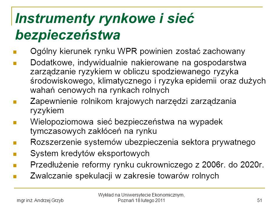 mgr inż. Andrzej Grzyb Wykład na Uniwersytecie Ekonomicznym, Poznań 18 lutego 2011 51 Instrumenty rynkowe i sieć bezpieczeństwa Ogólny kierunek rynku