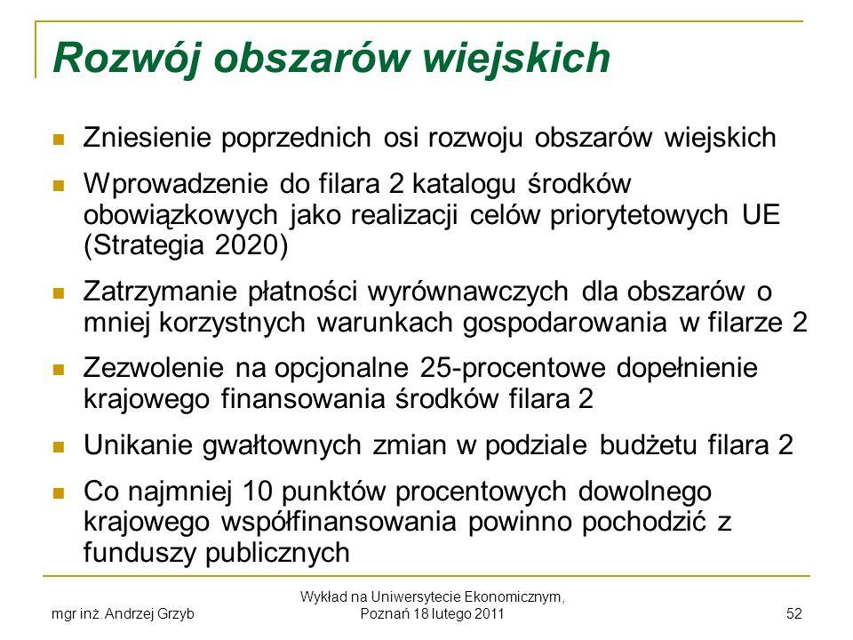 mgr inż. Andrzej Grzyb Wykład na Uniwersytecie Ekonomicznym, Poznań 18 lutego 2011 52 Rozwój obszarów wiejskich Zniesienie poprzednich osi rozwoju obs