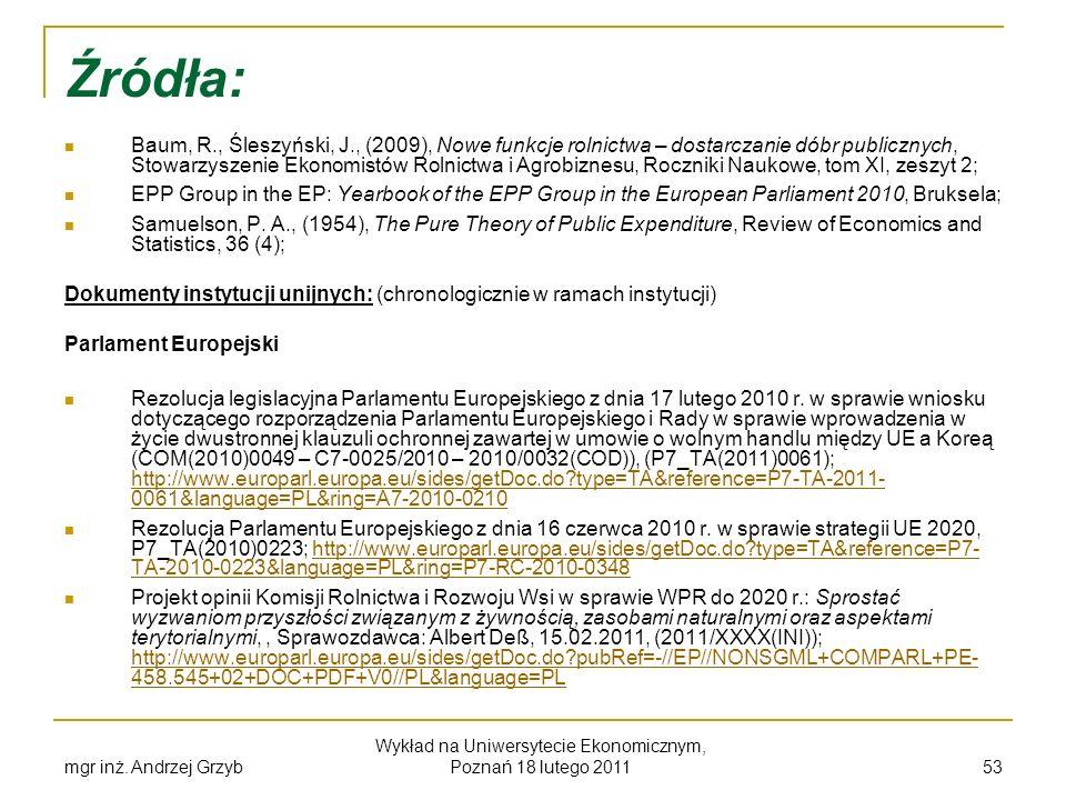 Źródła: Baum, R., Śleszyński, J., (2009), Nowe funkcje rolnictwa – dostarczanie dóbr publicznych, Stowarzyszenie Ekonomistów Rolnictwa i Agrobiznesu,