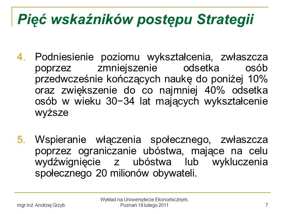mgr inż. Andrzej Grzyb Wykład na Uniwersytecie Ekonomicznym, Poznań 18 lutego 2011 7 Pięć wskaźników postępu Strategii 4. Podniesienie poziomu wykszta