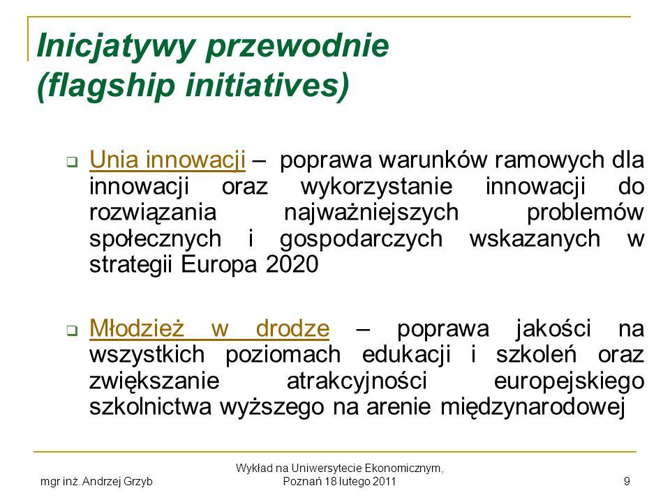 mgr inż. Andrzej Grzyb Wykład na Uniwersytecie Ekonomicznym, Poznań 18 lutego 2011 9 Inicjatywy przewodnie (flagship initiatives) Unia innowacji – pop