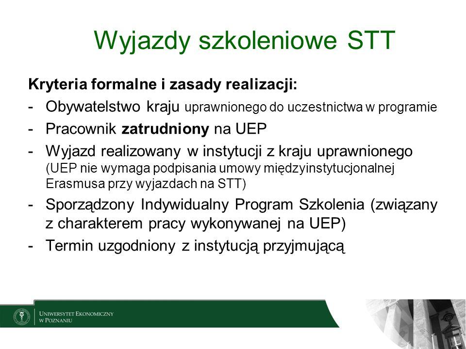 Wyjazdy szkoleniowe STT Kryteria formalne i zasady realizacji: -Obywatelstwo kraju uprawnionego do uczestnictwa w programie -Pracownik zatrudniony na