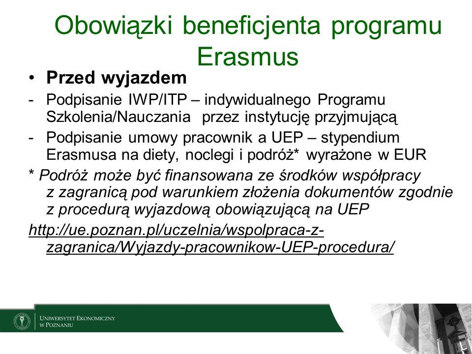 Obowiązki beneficjenta programu Erasmus Przed wyjazdem -Podpisanie IWP/ITP – indywidualnego Programu Szkolenia/Nauczania przez instytucję przyjmującą