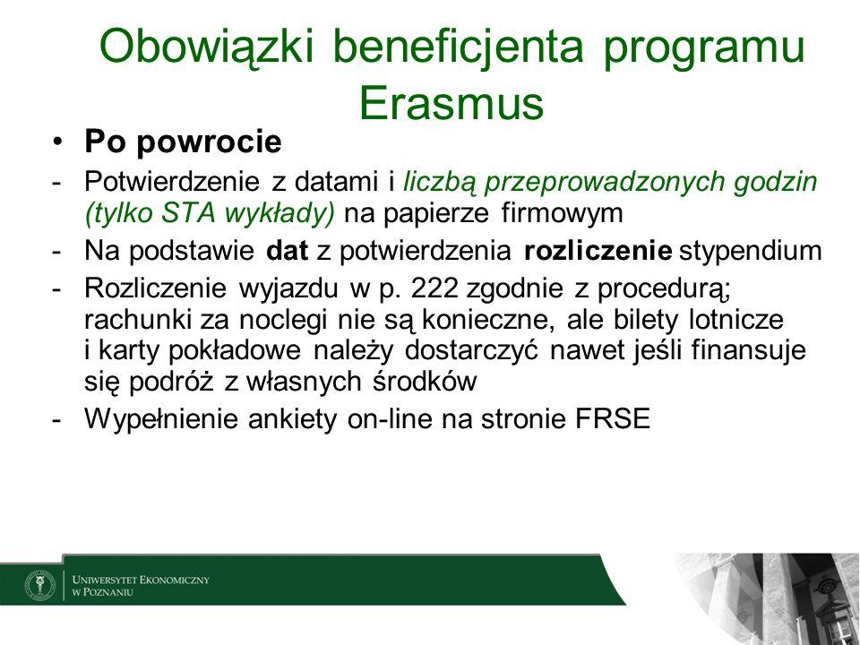 Obowiązki beneficjenta programu Erasmus Po powrocie -Potwierdzenie z datami i liczbą przeprowadzonych godzin (tylko STA wykłady) na papierze firmowym