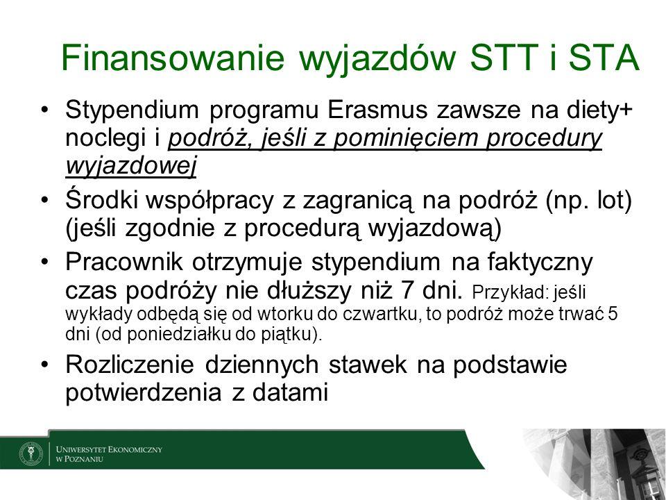 Finansowanie wyjazdów STT i STA Stypendium programu Erasmus zawsze na diety+ noclegi i podróż, jeśli z pominięciem procedury wyjazdowej Środki współpr