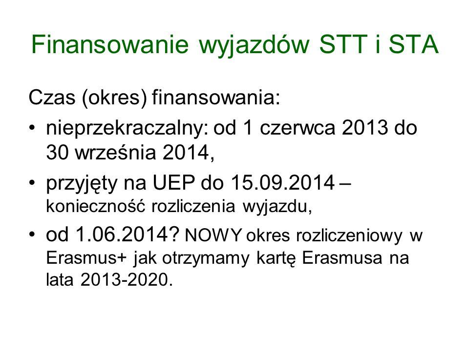 Finansowanie wyjazdów STT i STA Czas (okres) finansowania: nieprzekraczalny: od 1 czerwca 2013 do 30 września 2014, przyjęty na UEP do 15.09.2014 – ko