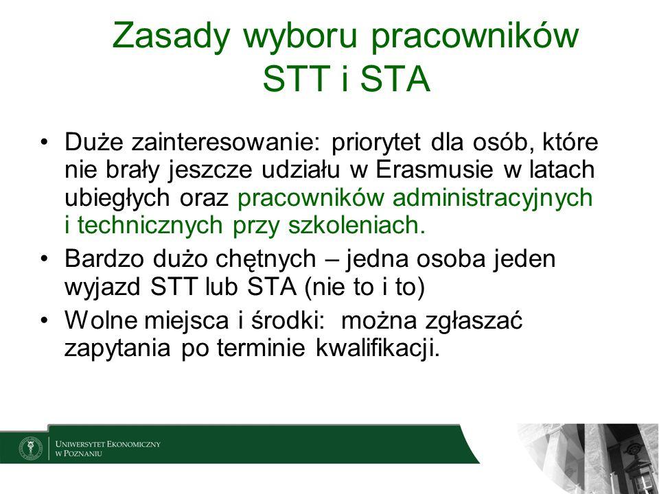 Zasady wyboru pracowników STT i STA Duże zainteresowanie: priorytet dla osób, które nie brały jeszcze udziału w Erasmusie w latach ubiegłych oraz prac