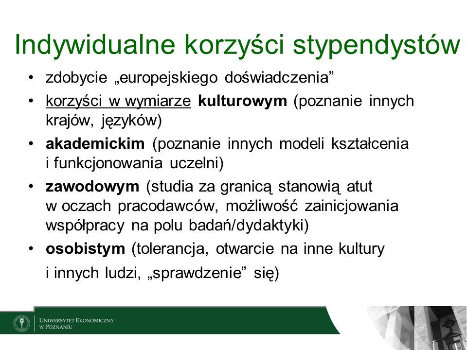 Indywidualne korzyści stypendystów zdobycie europejskiego doświadczenia korzyści w wymiarze kulturowym (poznanie innych krajów, języków) akademickim (