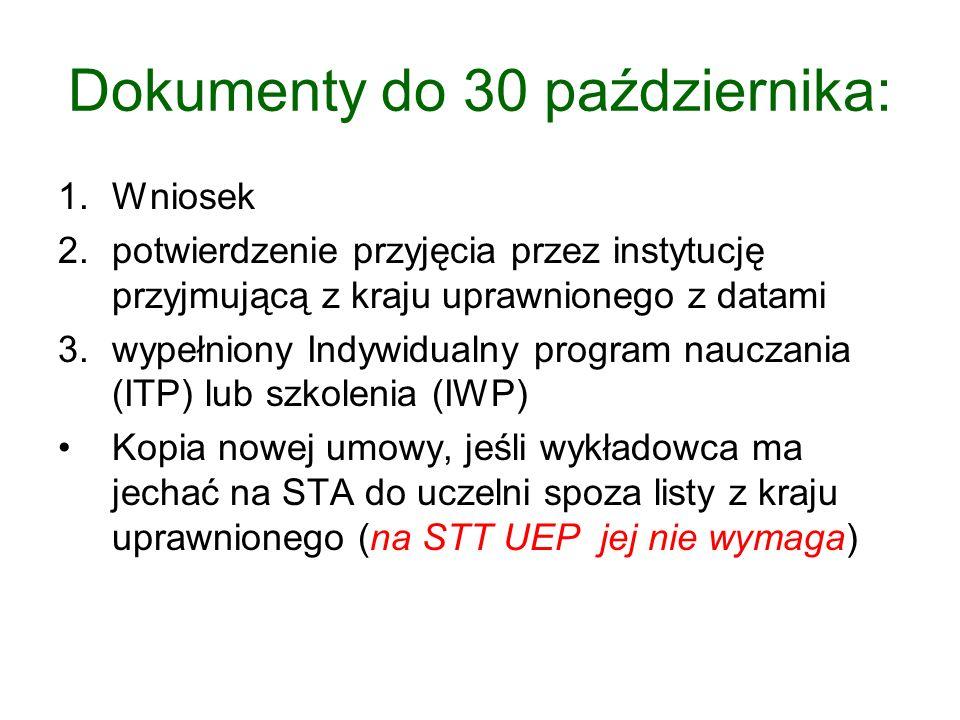 STA – wykłady - umowy bilateralne Umowy międzyuczelniane (liczba: ok.90) Umowy mogą być podpisywane w ciągu całego roku akademickiego Kopia nowej umowy, podpisanej z uczelnią zagraniczną posiadającą Kartę Erasmusa ważną w roku 2013/2014 – jeśli wykładowca chce pojechać na STA do uczelni spoza listy z kraju uprawnionego (na szkolenie STT na UEP umowy nie są wymagane)