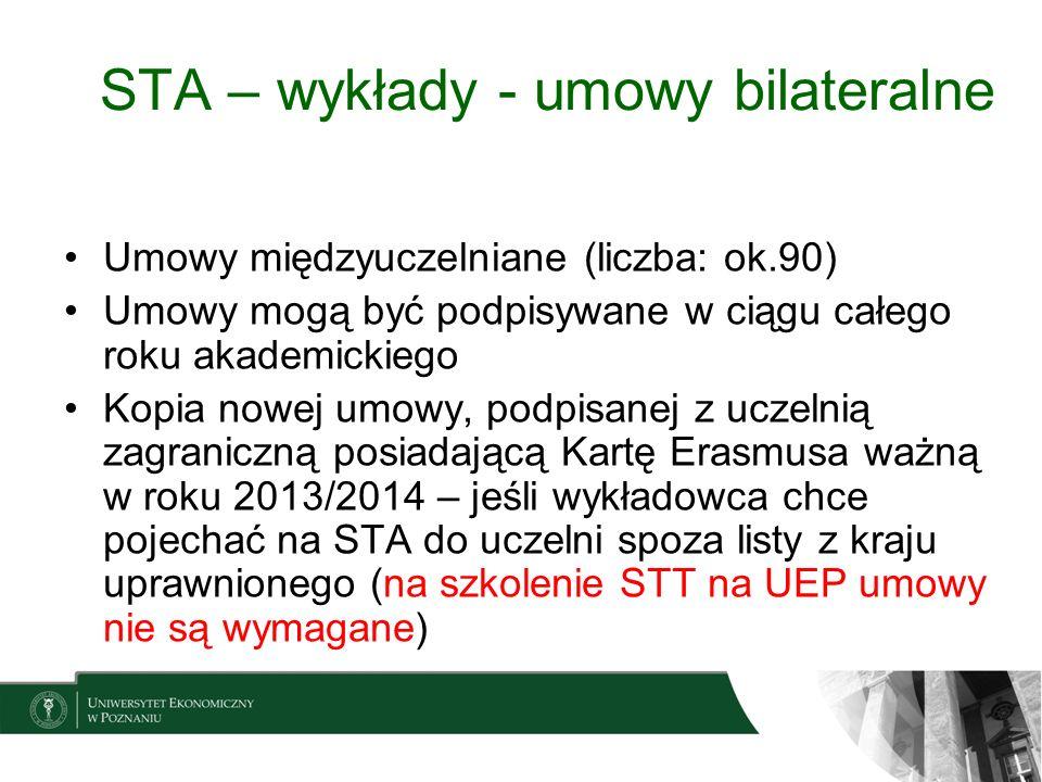STA – wykłady - umowy bilateralne Umowy międzyuczelniane (liczba: ok.90) Umowy mogą być podpisywane w ciągu całego roku akademickiego Kopia nowej umow