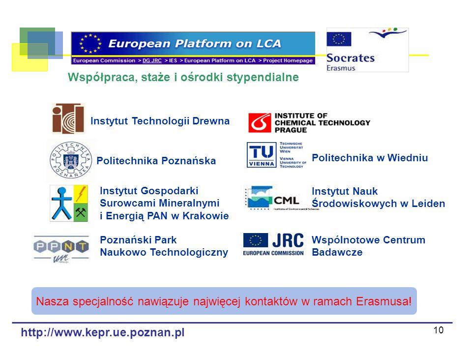 10 Współpraca, staże i ośrodki stypendialne Instytut Technologii Drewna Politechnika Poznańska Instytut Gospodarki Surowcami Mineralnymi i Energią PAN