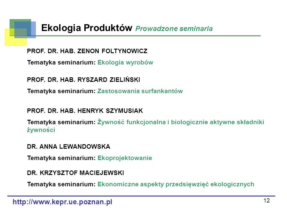 12 Ekologia Produktów Prowadzone seminaria PROF. DR. HAB. ZENON FOLTYNOWICZ Tematyka seminarium: Ekologia wyrobów DR. ANNA LEWANDOWSKA Tematyka semina