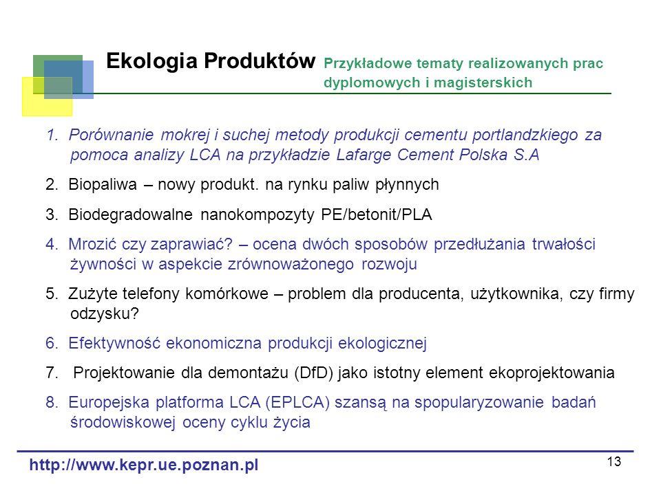 13 Ekologia Produktów Przykładowe tematy realizowanych prac dyplomowych i magisterskich 1. Porównanie mokrej i suchej metody produkcji cementu portlan