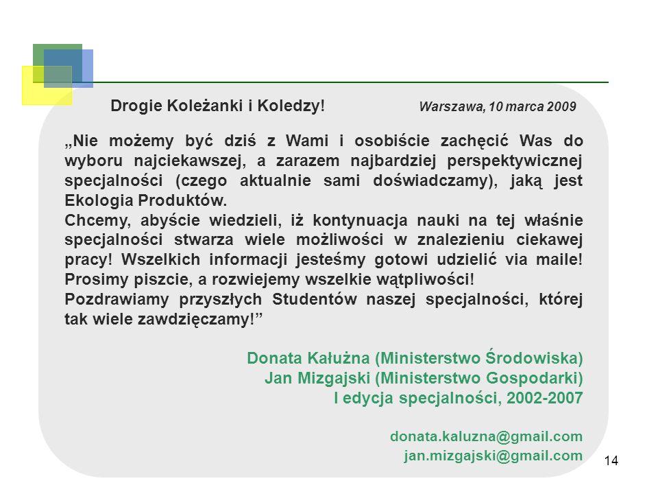 14 Drogie Koleżanki i Koledzy! Warszawa, 10 marca 2009 Nie możemy być dziś z Wami i osobiście zachęcić Was do wyboru najciekawszej, a zarazem najbardz