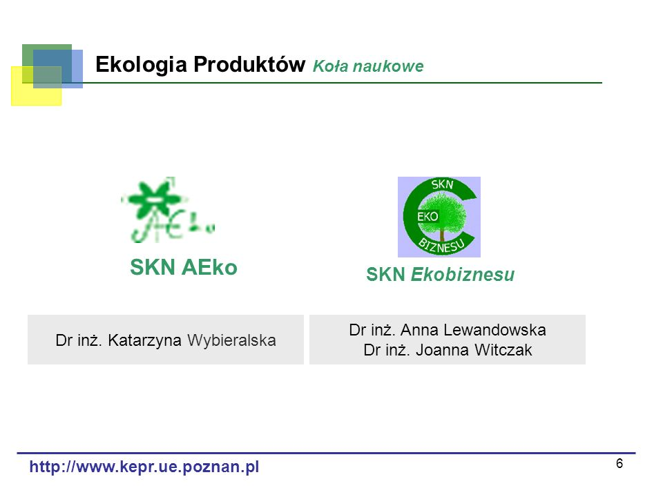 6 Ekologia Produktów Koła naukowe http://www.kepr.ue.poznan.pl SKN Ekobiznesu SKN AEko Dr inż. Anna Lewandowska Dr inż. Joanna Witczak Dr inż. Katarzy
