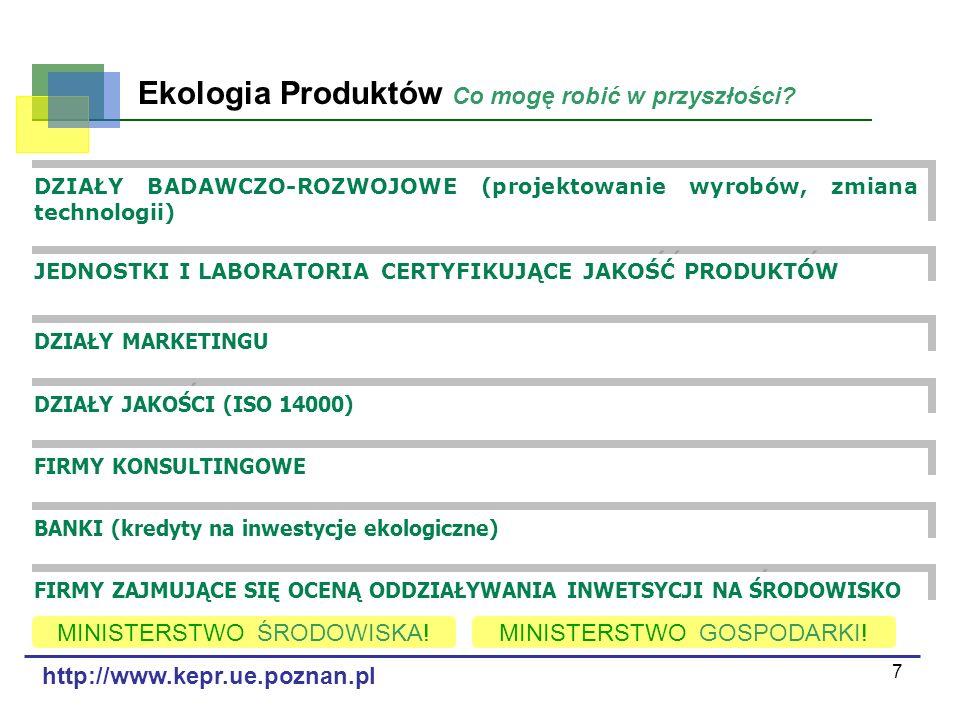 7 Ekologia Produktów Co mogę robić w przyszłości? http://www.kepr.ue.poznan.pl DZIAŁY BADAWCZO-ROZWOJOWE (projektowanie wyrobów, zmiana technologii) J