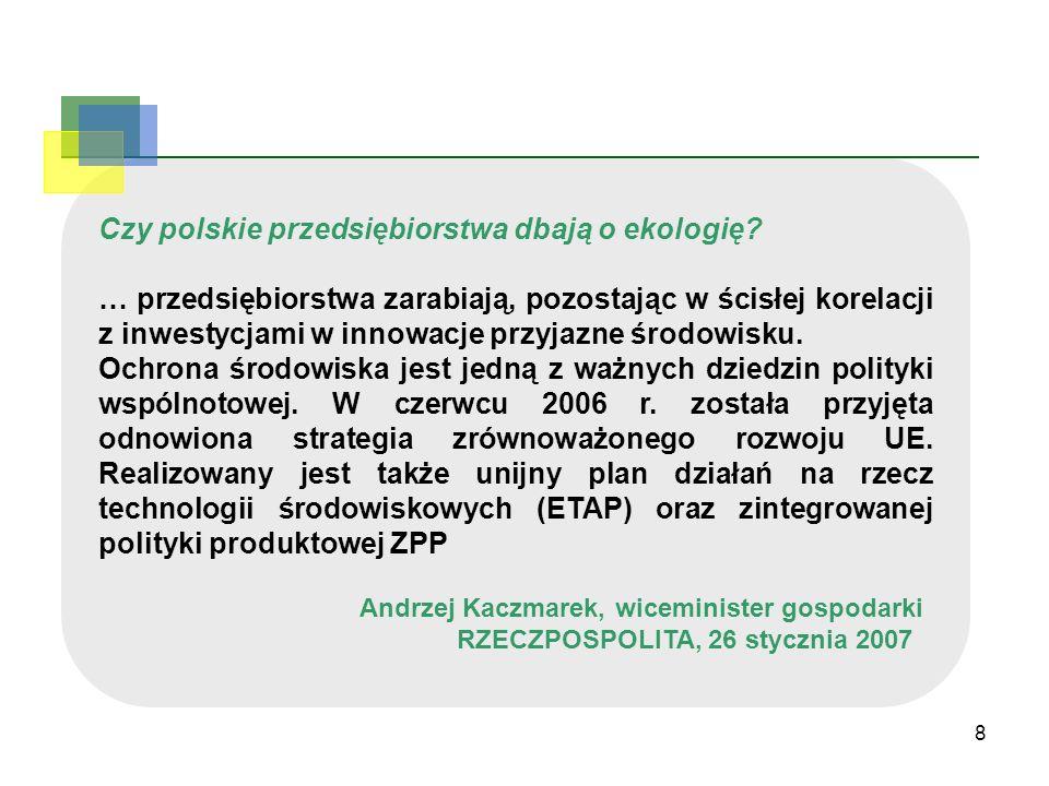 8 Czy polskie przedsiębiorstwa dbają o ekologię? … przedsiębiorstwa zarabiają, pozostając w ścisłej korelacji z inwestycjami w innowacje przyjazne śro