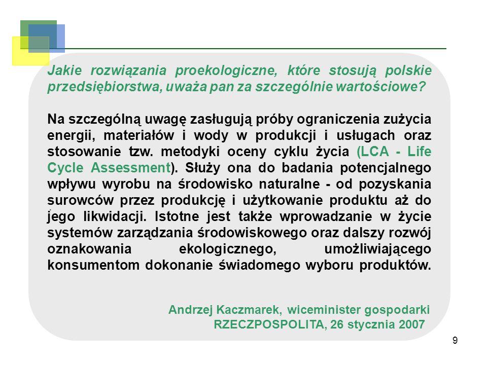 9. Jakie rozwiązania proekologiczne, które stosują polskie przedsiębiorstwa, uważa pan za szczególnie wartościowe? Na szczególną uwagę zasługują próby