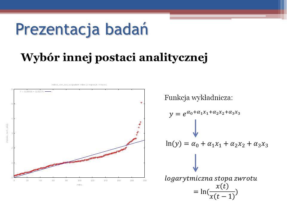 Prezentacja badań Wybór innej postaci analitycznej Funkcja wykładnicza: