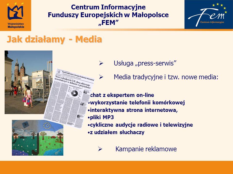 Centrum Informacyjne Funduszy Europejskich w Małopolsce FEM Jak działamy - Media Usługa press-serwis Media tradycyjne i tzw. nowe media: chat z eksper