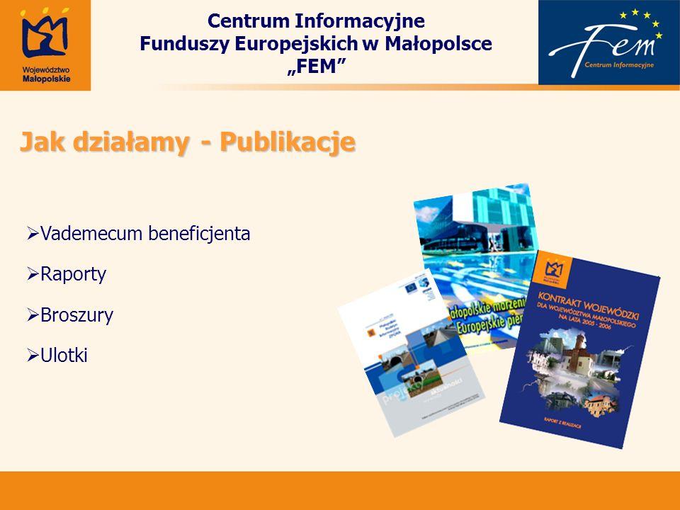 Centrum Informacyjne Funduszy Europejskich w Małopolsce FEM Jak działamy - Publikacje Vademecum beneficjenta Raporty Broszury Ulotki
