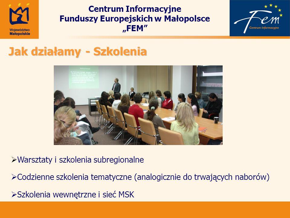 Centrum Informacyjne Funduszy Europejskich w Małopolsce FEM Jak działamy - Szkolenia Warsztaty i szkolenia subregionalne Codzienne szkolenia tematyczn