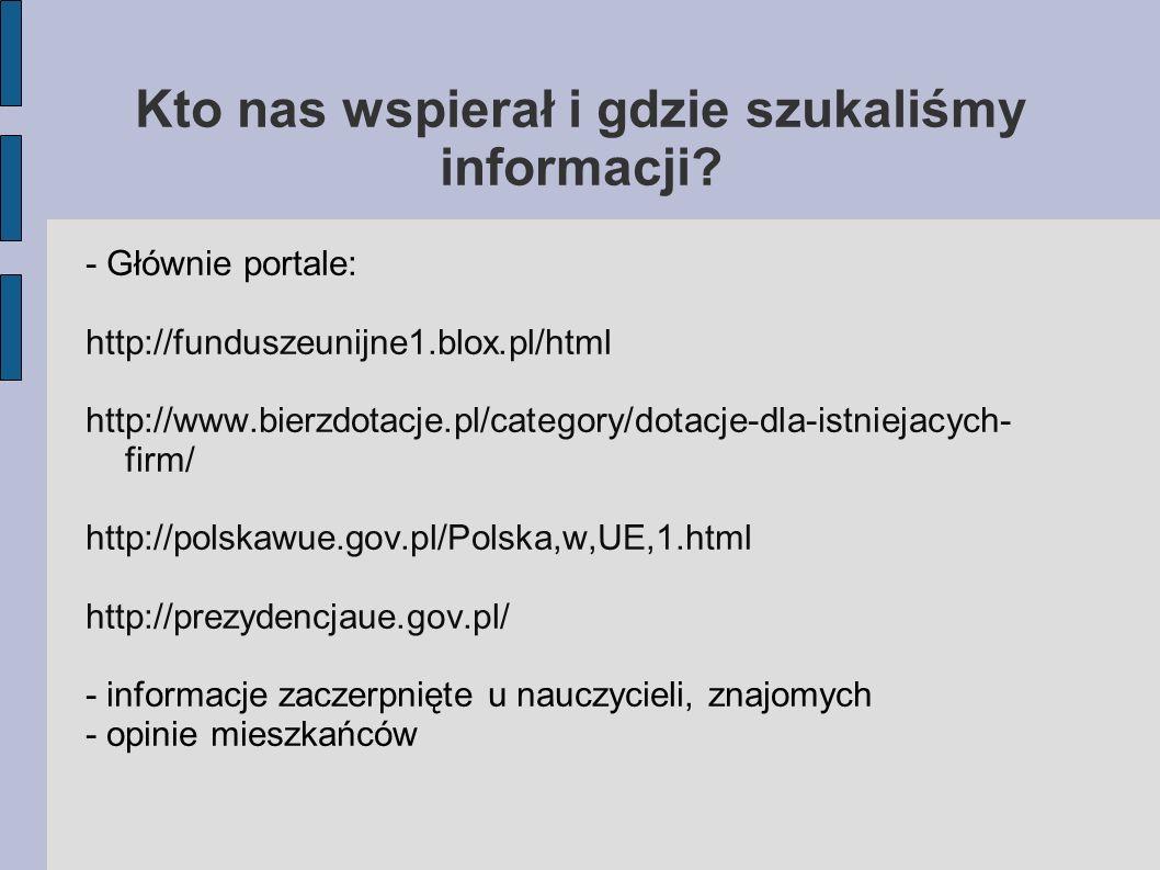 Kto nas wspierał i gdzie szukaliśmy informacji? - Głównie portale: http://funduszeunijne1.blox.pl/html http://www.bierzdotacje.pl/category/dotacje-dla