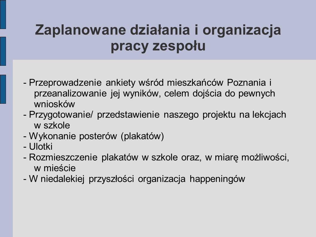 Zaplanowane działania i organizacja pracy zespołu - Przeprowadzenie ankiety wśród mieszkańców Poznania i przeanalizowanie jej wyników, celem dojścia d