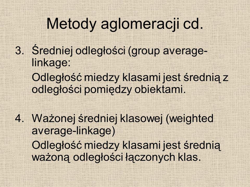 Metody aglomeracji cd. 3.Średniej odległości (group average- linkage: Odległość miedzy klasami jest średnią z odległości pomiędzy obiektami. 4.Ważonej