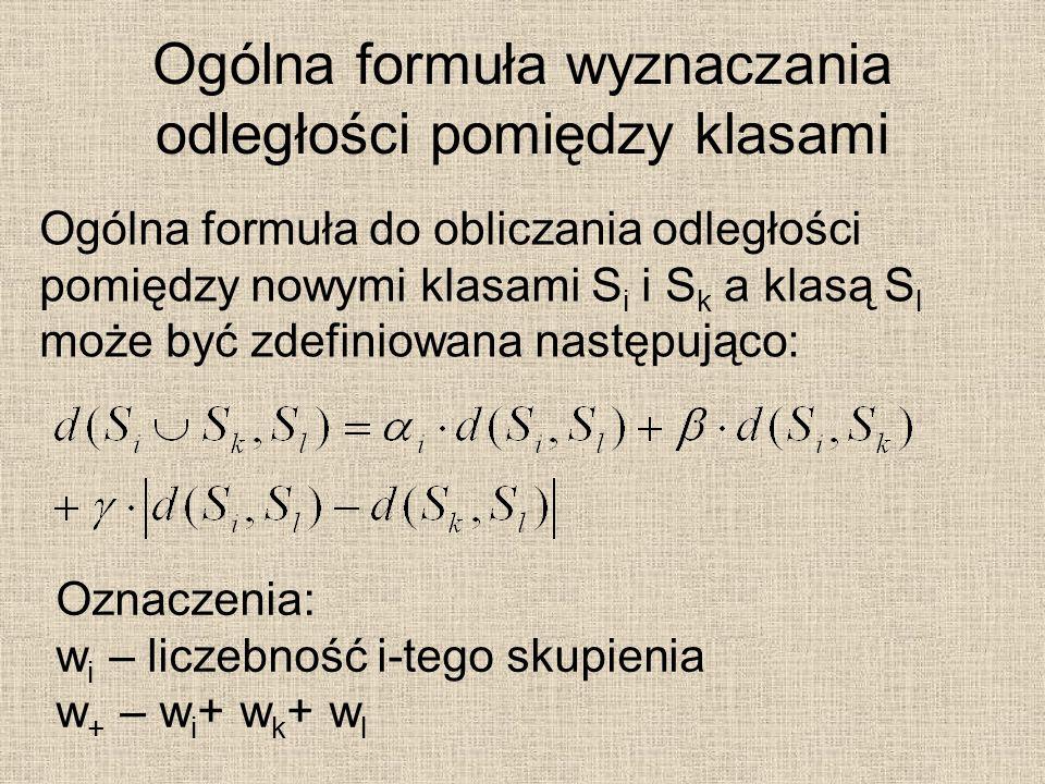 Ogólna formuła wyznaczania odległości pomiędzy klasami Ogólna formuła do obliczania odległości pomiędzy nowymi klasami S i i S k a klasą S l może być