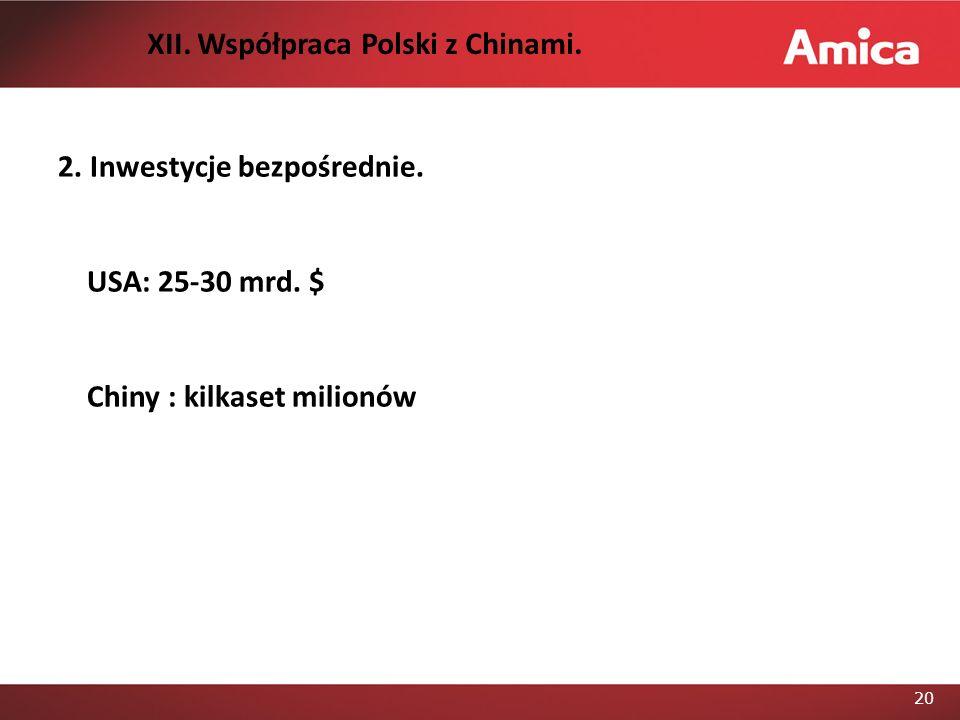 21 3.Szanse – przynależność Polski do UE. a. Chińskie FDI USAChiny (przykład) 1.