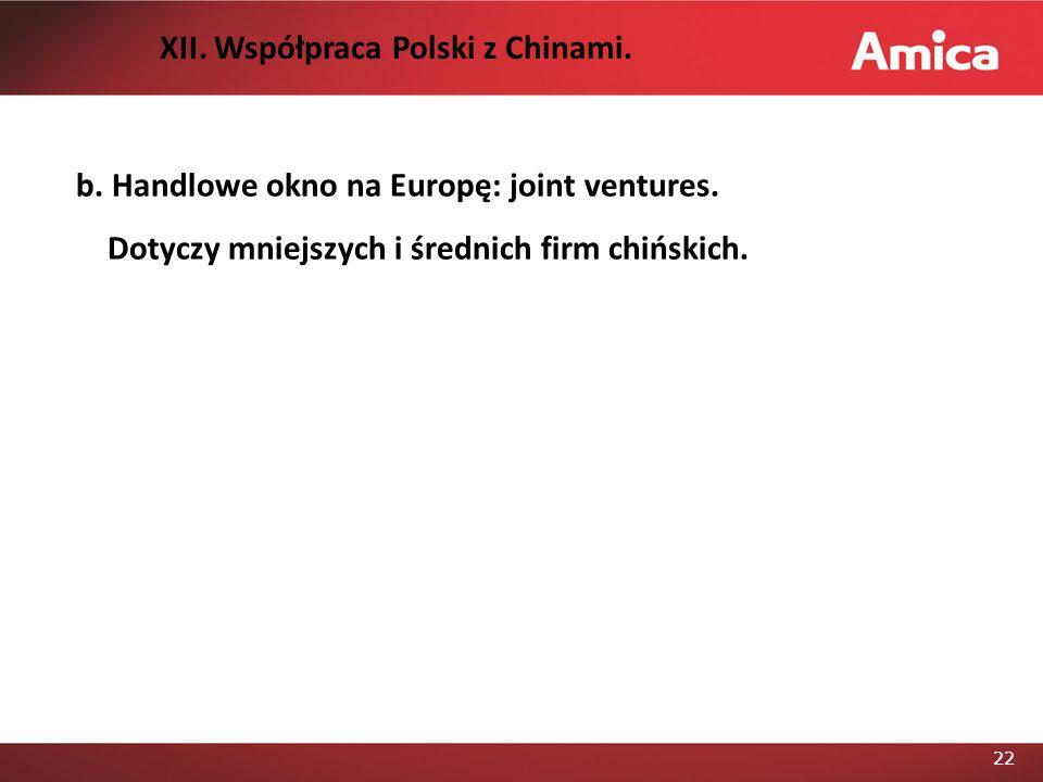22 b.Handlowe okno na Europę: joint ventures. Dotyczy mniejszych i średnich firm chińskich.