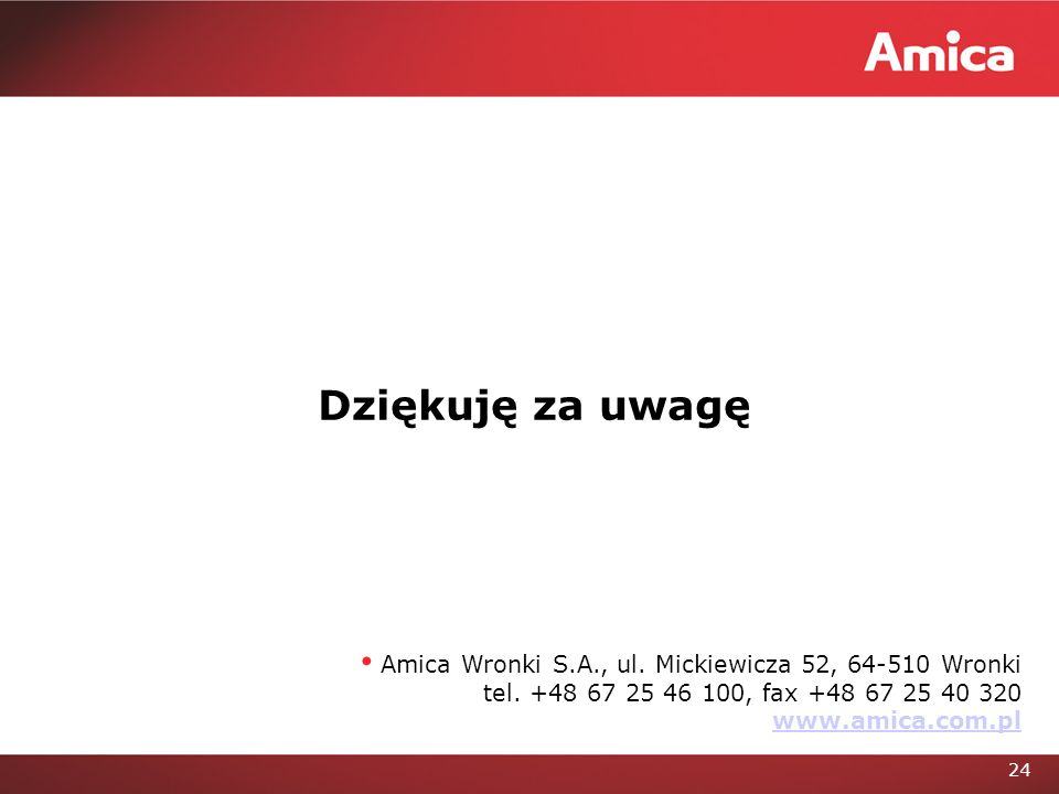 24 Amica Wronki S.A., ul.Mickiewicza 52, 64-510 Wronki tel.