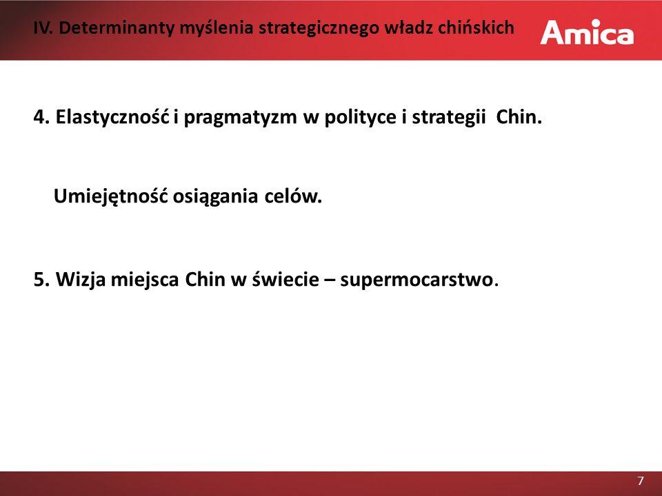 7 4.Elastyczność i pragmatyzm w polityce i strategii Chin.