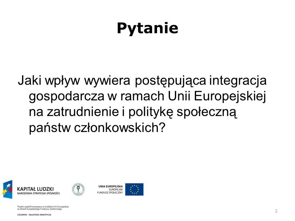 2 Pytanie Jaki wpływ wywiera postępująca integracja gospodarcza w ramach Unii Europejskiej na zatrudnienie i politykę społeczną państw członkowskich?