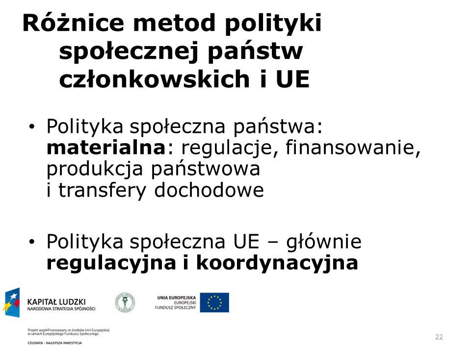 22 Różnice metod polityki społecznej państw członkowskich i UE Polityka społeczna państwa: materialna: regulacje, finansowanie, produkcja państwowa i transfery dochodowe Polityka społeczna UE – głównie regulacyjna i koordynacyjna
