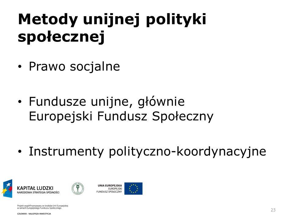 23 Metody unijnej polityki społecznej Prawo socjalne Fundusze unijne, głównie Europejski Fundusz Społeczny Instrumenty polityczno-koordynacyjne